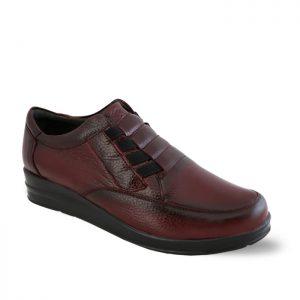 کفش چرم راحتی زنانه راینو چرم مدل آیسان رنگ زرشکی