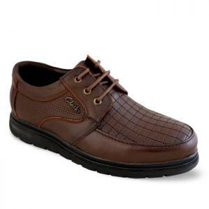 کفش چرم مردانه تبریز مدل رونیز طرح کلارک رنگ قهوهای