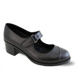 کفش چرم پاشنه دار زنانه راینو چرم کد 150 رنگ مشکی