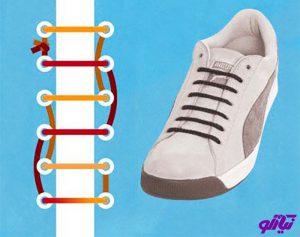 آموزش مدل بستن بند کفش طرح گره مخفی
