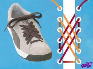 آموزش مدل بستن بند کفش طرح مشبک