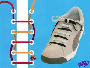 آموزش مدل بستن بند کفش طرح بند دو رنگ