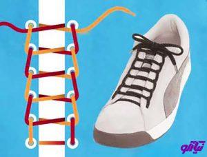 آموزش مدل بستن بند کفش طرح نردبان