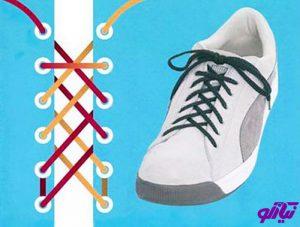 آموزش مدل بستن بند کفش طرح دابل بک