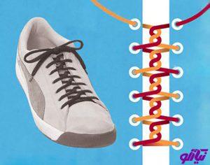آموزش مدل بستن بند کفش طرح پیچ در پیچ