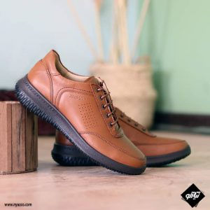 خرید کفش اسپرت چرمی همگام مدل ۱۸۲ رنگ عسلی