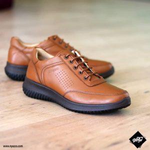 کفش اسپرت چرمی همگام مدل ۱۸۲ رنگ عسلی